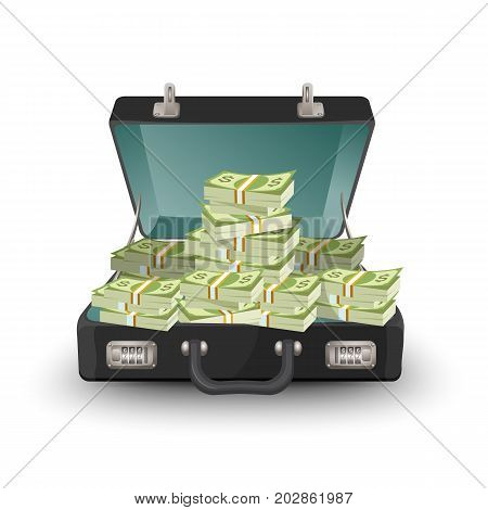 Open briefcase full of money vector illustration isolated on white. Suitcase staffed by dollar banknotes, leather case with cash