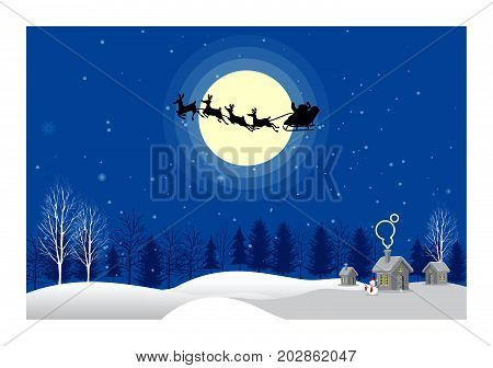 Santa Claus sleigh with reindeer fly over the city background of the moonlight. Beautiful moonlight background with Santa Into the Winter Christmas Night. All in a single layer. Vector illustration.