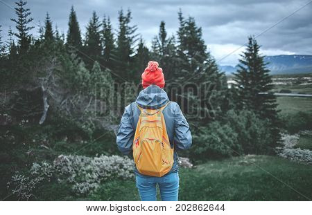 back view of young woman hiker hiking in beautiful mountains. female hiker in waterproof clothes, red hat and with small orange packpack on the green pines background