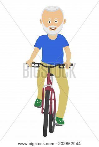 Cute senior man riding a bicycle over a white background