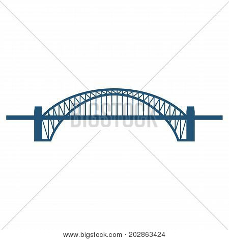 Sydney Harbour Bridge flat blue icon isolated on white background. Vector illustration of arch-shaped steel structure used for crossing body of water