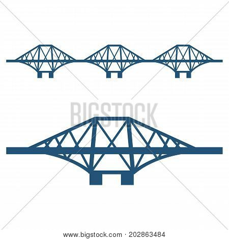 Forth Bridge set of blue silhouettes isolated on white background. Vector illustration of cantilever railway structure. Symbol of Scotland.