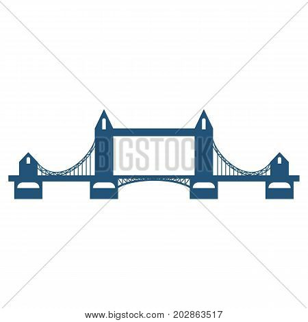 Tower Bridge blue silhouette isolated on white background. Vector illustration of bascule and suspension structure spanning across River Thames