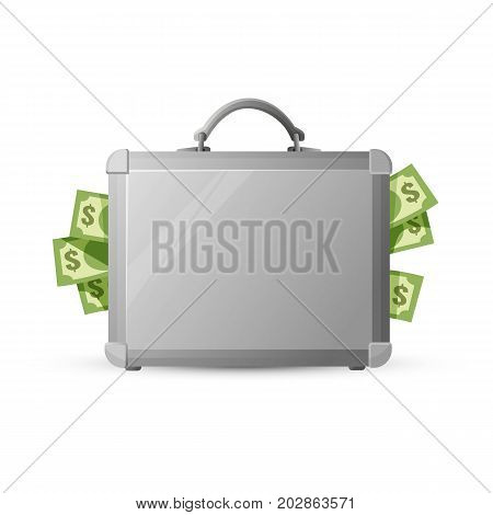 Icon of closed briefcase stuffed with money isolated on white background. 3d vector illustration of metal case with american dollars protruding