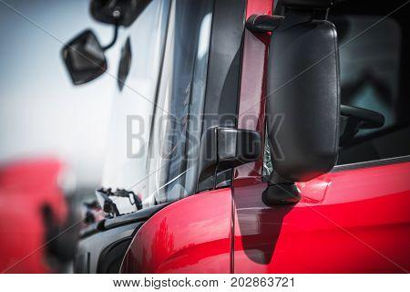 Euro Semi Truck Tractor Closeup. Trucking Theme.