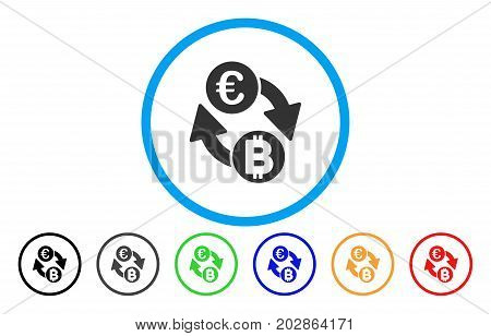Euro Bitcoin Exchange Coins rounded icon. Vector illustration style is a grey flat iconic euro bitcoin exchange coins symbol inside a circle. Additional color versions are black, grey, green, blue,