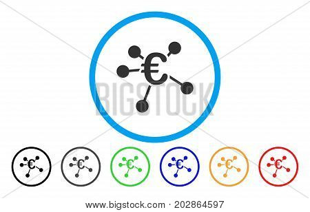 Euro Distribution rounded icon. Vector illustration style is a grey flat iconic euro distribution symbol inside a circle. Additional color variants are black, grey, green, blue, red, orange.