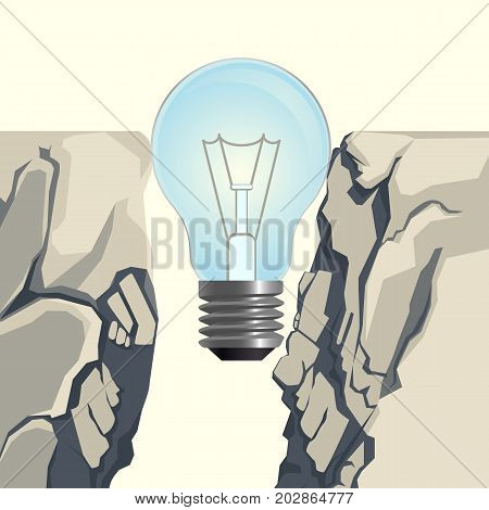 Unlit incandescent light bulb filling steep rocky abyss forming bridge over deep gap isolated 3d vector illustration on white background