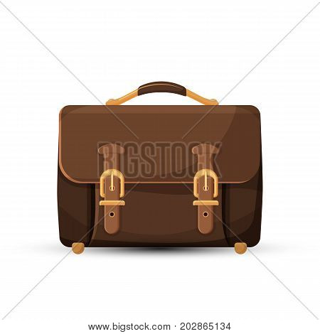 Icon of stylish brown leather briefcase with two straps and golden buckles isolated on white background. Vector illustration of bag with handle