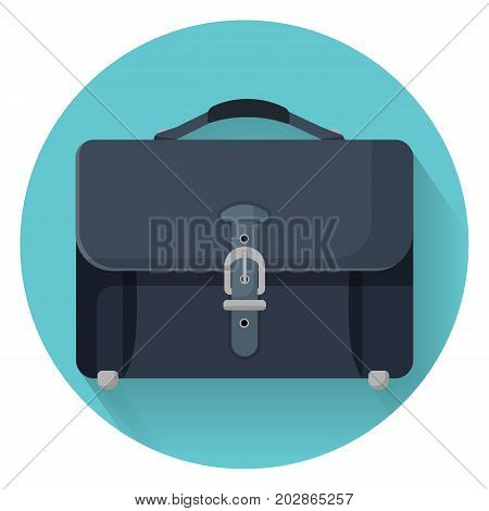 Businessman briefcase with leather lock vector illustration isolated on blue circle. Case for documents, portable handbag for man
