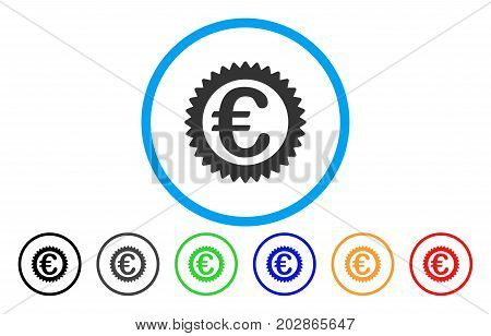 Euro Reward Stamp rounded icon. Vector illustration style is a grey flat iconic euro reward stamp symbol inside a circle. Additional color versions are black, gray, green, blue, red, orange.