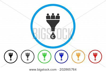 Euro Sales Funnel rounded icon. Vector illustration style is a grey flat iconic euro sales funnel symbol inside a circle. Additional color variants are black, grey, green, blue, red, orange.
