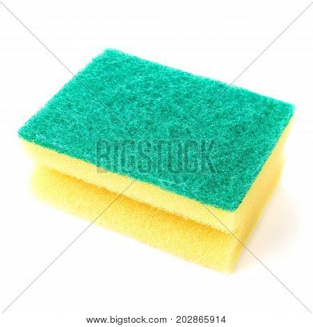 Washing Sponge for dishes isolated on white background close up. Colorful dry Cleaning Sponge