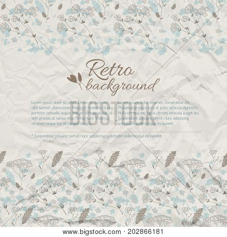 Retro greeting natural background with text meadow flowers on textured crumpled paper vector illustration