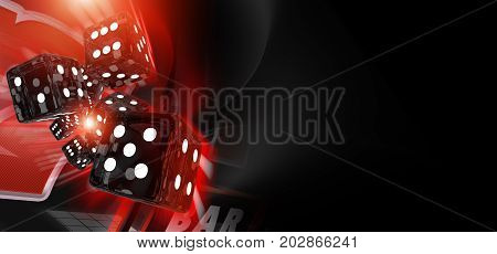 Red Craps Dices Casino Banner 3D Rendered Illustration with Copy Space. Casino Games Theme.