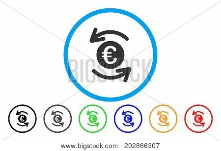 Refresh Euro Balance rounded icon. Vector illustration style is a gray flat iconic refresh euro balance symbol inside a circle. Additional color variants are black, grey, green, blue, red, orange.