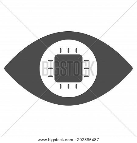 Bionic Eye Circuit vector pictograph. Style is flat graphic grey symbol.