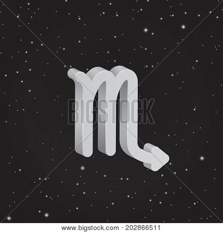 Scorpio zodiac symbol 3D white zodiac icon on the background of black starry sky