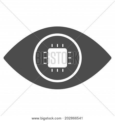 Bionic Eye Lens vector icon. Style is flat graphic gray symbol.