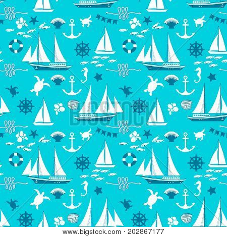 Nautical seamless abstract pattern with white sailboats and elements of marine fauna on blue background flat vector Illustration