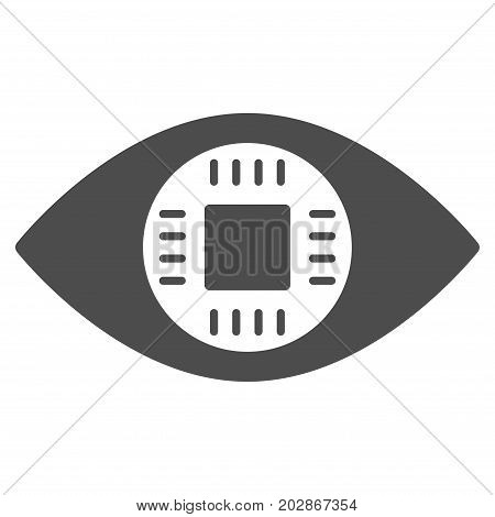 Chip Eye Lens vector pictogram. Style is flat graphic grey symbol.