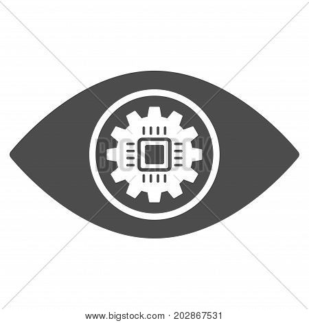 Cyber Eye Lens vector icon. Style is flat graphic gray symbol.