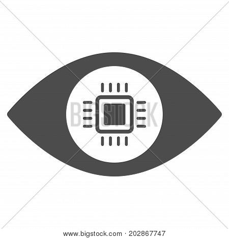 Electronic Vision Lens vector pictogram. Style is flat graphic gray symbol.