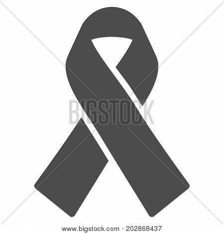 Mourning Ribbon vector icon. Style is flat graphic grey symbol.