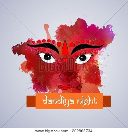 illustration of Hindu Goddess Durga face with Happy Navratri text on the occasion of hindu festival Navratri