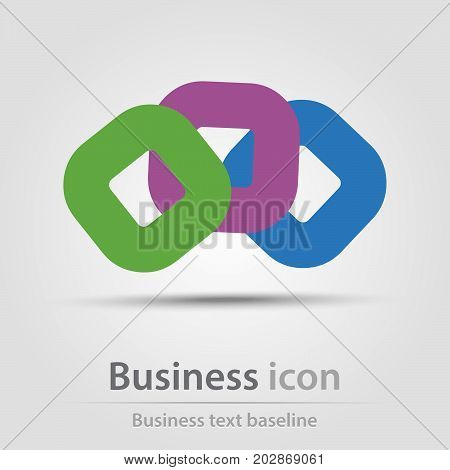 Originally created business icon with conjuncted rounded squares