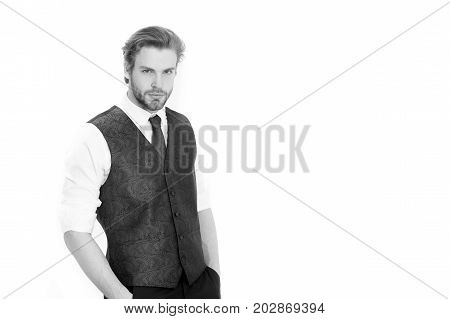 Man Or Serious Gentleman In Waistcoat And Tie