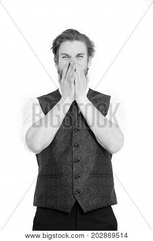 Bearded Man Or Shouting Gentleman In Waistcoat And Tie