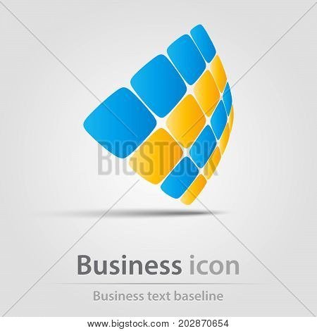 Originally created business icon with perspective rounded squares