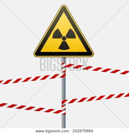 Warning sign on pole and warning bands. Sign of radiation hazards. Vector illustration.