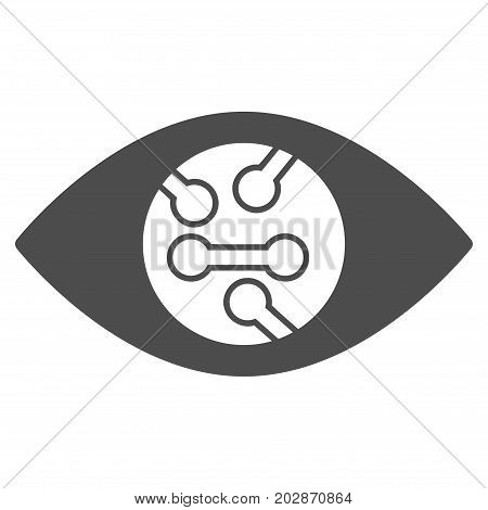 Smart Eye Lens vector pictogram. Style is flat graphic gray symbol.
