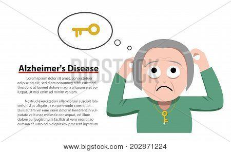 Alzheimer's Disease in old woman vector design
