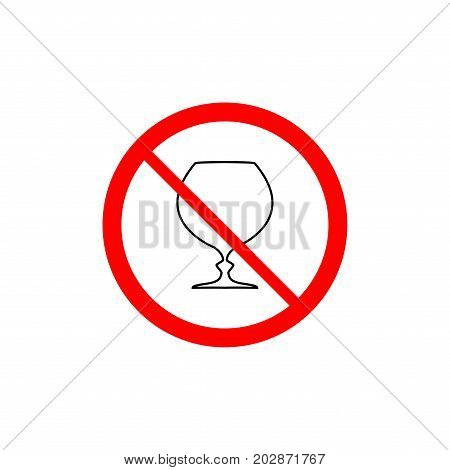 No drink icon. Silhouette black glass in red circle. Prohibition drink tea juice beverage. Sign on white background. Symbol forbidden beverage. Mark warning. Flat vector image. Vector illustration