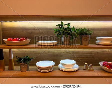 Kitchen Filled Shelf With Backlight