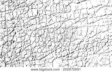 Vector texture of cracked asphalt surface. Grunge abstract background. Web of cracks and grains can be used for overlay.