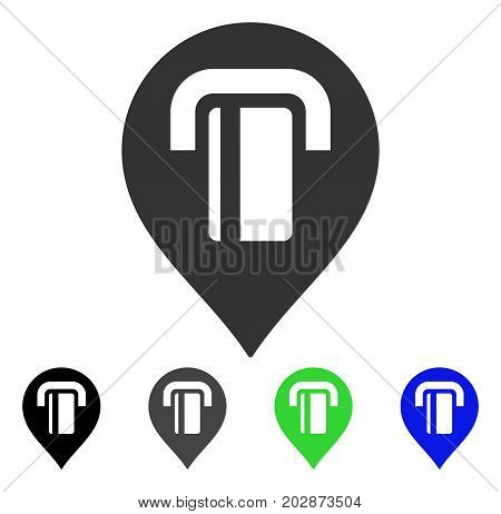 ATM Map Marker icon. Vector illustration style is a flat iconic atm map marker symbol with black, gray, green, blue color variants. Designed for web and software interfaces.