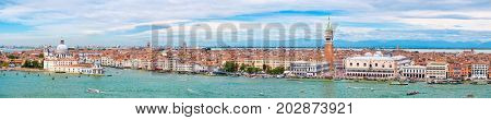 Very high resolution panoramic view of Venice including St Mark's Square, the Grand Canal and the church of Santa Maria della Salute