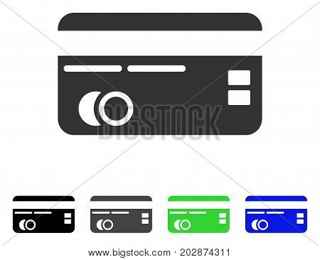 Credit Card icon. Vector illustration style is a flat iconic credit card symbol with black, gray, green, blue color versions. Designed for web and software interfaces.