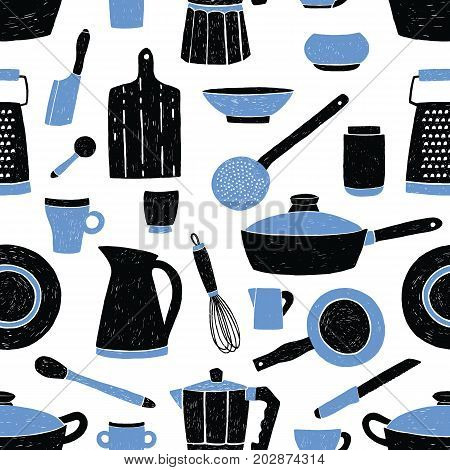 Seamless pattern with black and blue kitchen utensils, tableware, dishes and tools against white background. Vector illustration in trendy style for fabric print, wallpaper, wrapping paper, backdrop