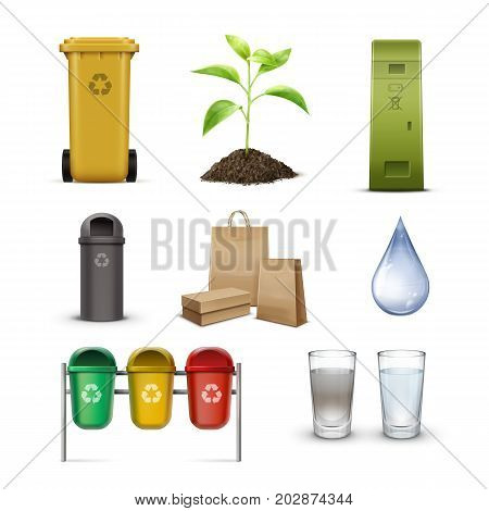 Set of recycle bins for waste sorting, clean water drop, sprout and kraft paper bags isolated on white background