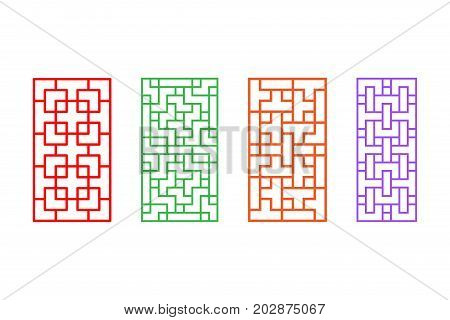 Set of rectangle Chinese pattern window frame vector