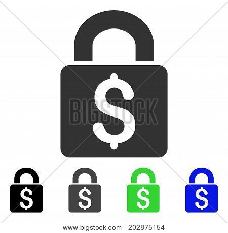 Pay Lock icon. Vector illustration style is a flat iconic pay lock symbol with black, grey, green, blue color versions. Designed for web and software interfaces.