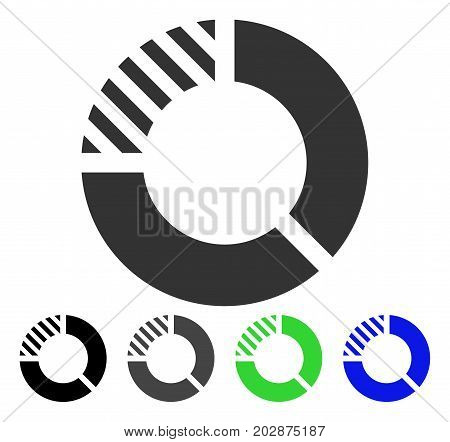 Pie Chart icon. Vector illustration style is a flat iconic pie chart symbol with black, gray, green, blue color variants. Designed for web and software interfaces.