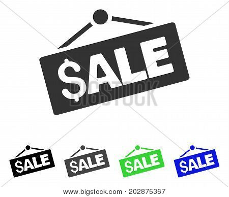 Sale Signboard icon. Vector illustration style is a flat iconic sale signboard symbol with black, gray, green, blue color versions. Designed for web and software interfaces.