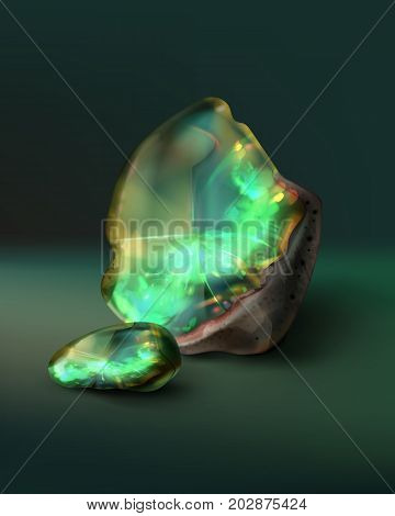 Vector illustration of raw emerald with fragment isolated on green background