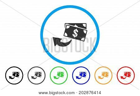 Cashback rounded icon. Vector illustration style is a gray flat iconic cashback symbol inside a circle. Additional color versions are black, gray, green, blue, red, orange.